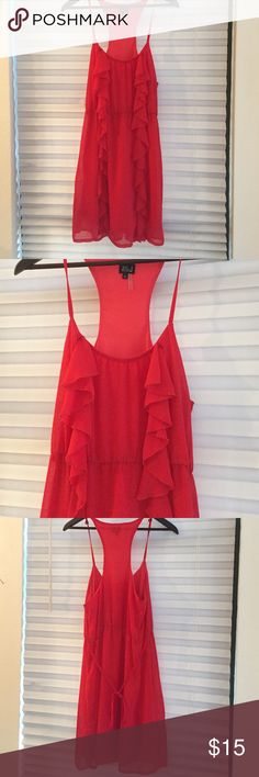 Red ruffle dress- like new Red chiffon ruffle dress- from a local boutique and only worn once! Very J Dresses Mini