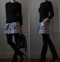 This outfit is so sharp. I need reminders like this about how great black tights are.