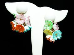 New Listings Daily - Follow Us for UpDates - Napier Plastic Flower Earrings - Clip on Cluster of Flowers Dangling from White Bead - Mod #Vintage Designer Signed offered by TheJewelSeeker  Style:   Cottage Chic Mod Flow... #vintage #jewelry #teamlove #etsyretwt #ecochic #thejewelseeker