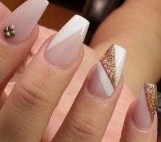 tan and gold nails