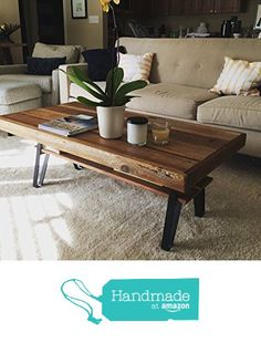 "Reclaimed Wood Farmhouse Coffee Table with Flatiron Legs and Shelf - 34"" x 22"" x 18"" from Urban Mining Company https://www.amazon.com/dp/B01M337AMN/ref=hnd_sw_r_pi_dp_q3QEyb7KFRDDK #handmadeatamazon"