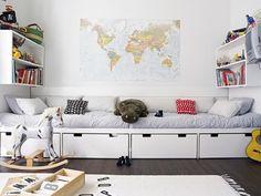 Indretning-interioer-Boligcious-Kids-design-boernevaerelse-kids room, Baby room-fashion-børnetoej-babytoej-home-decor-boligindretning, indretning-interior-moebler-urnitures-Malene Moeller-Hansen-Indretningsdesigner-delevaerelset-seng