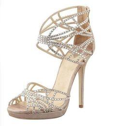 c34dd99cf632bd Crystal Embellished Strappy Sandals. Caged ShoesBeige ...