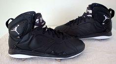 NIKE AIR JORDAN MEN 7 VII RETRO VII BLK WHITE BASEBALL METAL CLEATS Sz 9 NEW 010 #Nike #Cleats