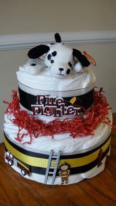 Love this fireman diaper cake