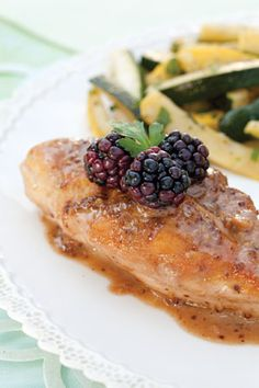 Serve and enjoy good food!   Chicken with Blackberry-Mustard Cream Sauce