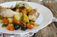 Pollo con patate e peperoni al forno