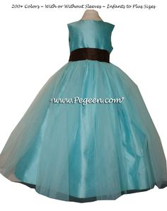 Flower girl dress Classics Style 356 in Tiffany blue and brown silk | Pegeen