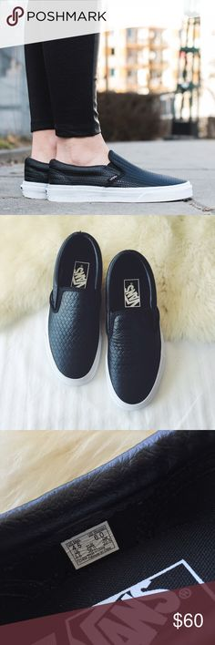 Vans Woven Leather Slip Ons •Classic Vans slip-ons in black embossed leather.  •Women's size 6  •Display shoe, like new condition.  •NO TRADES/PAYPAL/MERC/HOLDS/NONSENSE. Vans Shoes Sneakers