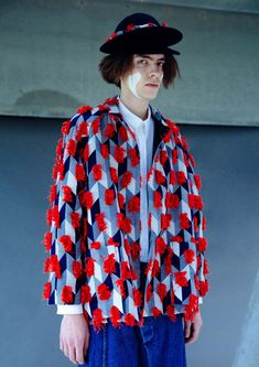 a6dbeab41 Blue and White Checked Henrik Jacket from the Henrik Vibskov Collection  with Red Fringe.