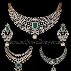 Diamond Necklace Square shaped emerald adorned opulent diamond necklaces with pearls. paired with matching chandbalis from Shobha Asar. Exclusive Jewelry By Shobha Asar Diamond Necklace Set, Diamond Choker, Diamond Jewelry, Diamond Rings, Indian Wedding Jewelry, Indian Jewelry, Bridal Jewelry, Indian Bridal, Fine Jewelry