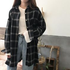 Buy Summer Oversized Tomboy Huge Plaid Light Shirt korean style Cheap Trendy Aes… Buy Summer Oversized Tomboy Huge Plaid Light Shirt korean style Cheap Trendy Aesthetic Clothes and G Vintage Outfits, Retro Outfits, Mode Outfits, Girl Outfits, Fashion Outfits, Fasion, Fashion Ideas, Fashion Clothes, Female Outfits