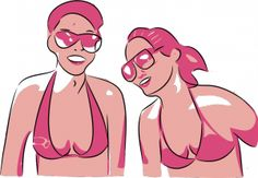 Vector illustration of a girls with sun glasses in swimsuits.