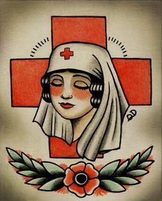 Items similar to Vintage Nurse Tattoo Flash on Etsy Arm Tattoo, Sleeve Tattoos, Desenhos Old School, Americana Tattoo, Nurse Art, Dibujos Tattoo, Traditional Tattoo Art, Vintage Nurse, Tattoo Flash Art