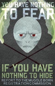 WWII propaganda posters are the best, and the universe of Harry Potter is one of my favorite historical allegories of all time. I like to imagine what it would look like if both sides had their say, and this one is from Voldy's side. Etsy poster via Blimpcat