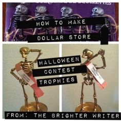 Step by step directions on how to make Dollar Store skeleton costume contest trophies f www.thebrighterwriter.blogspot.com