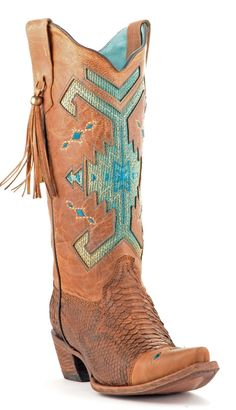 Corral Python Brown and Turquoise Cowboy Boots