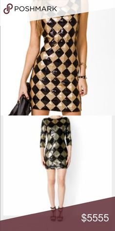 ISO: Black and Gold sequin dress NOT SELLING, ISO a dress either like the first or second picture. I'm pretty sure the first dress is Forever21, however I don't care about brand, just the dress style. Needing this dress for a Harley Quinn cosplay. Seeking it in a size medium-large! Forever 21 Dresses Mini