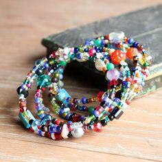 Multicolored Bangle, Mixed Gemstone Memory Wire Wrap Bracelet, Bright