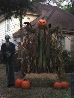 We have the scary pumpkin head guy in the back...we are so doing this for the Halloween party!