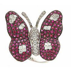 Fierra™ 18K White Gold 2.81ctw Ruby & Diamond Butterfly Ring - Size 7