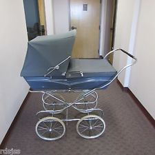 VINTAGE SILVER CROSS BLUE PRAM COMPLETE WITH EXTRA SUN NETTING