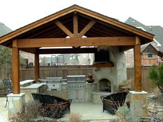 Kitchen , Incredible Outdoor Kitchen Ideas; Extra Charming for Backyard : Covered Outdoor Kitchen With Cozy Seating