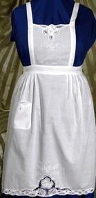 Battenburg Lace White Cotton Apron