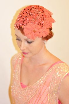 Celeste 1920s Style Headpiece in Dusty Coral