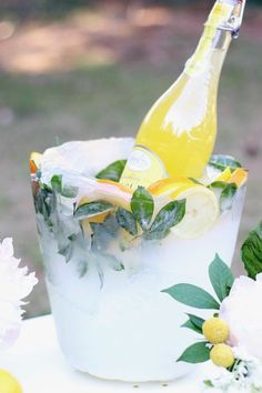 this DIY lemon and greenery ice bucket. Love this DIY lemon and greenery ice bucket.,Ice (disambiguation) Ice is the solid form of water. Ice or ICE may also refer to: Party Drinks, Tea Party, Brunch Party, Invitation Fete, Ice Bowl, Sparkling Lemonade, Lemon Party, Outdoor Parties, Outdoor Party Decor