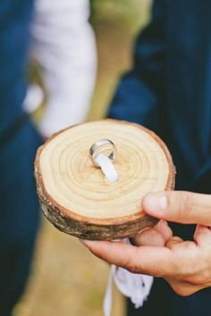 "Rustic Wedding Theme, Attach ring(s) to a small tree slab as ringbearer's ""pillow"" for a country wedding. rustic"