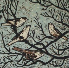 Winter Dogwood 1 - Woodcut by Kent Ambler