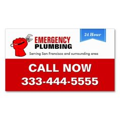 Plumber - Local Emergency Plumbing Services Business Card Templates. This great business card design is available for customization. All text style, colors, sizes can be modified to fit your needs. Just click the image to learn more!