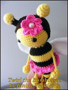 Twist and Twirl Bumble bees pattern by Janine Tsakisiris