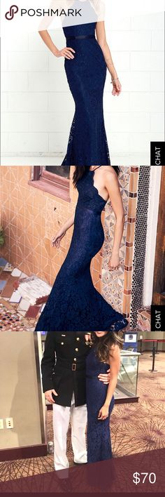 Lulu's Zenith Navy Blue Lace Maxi dress (XS) Worn once for a military ball! Bought this at $88 Lulu's Dresses Maxi