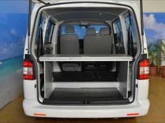 Bett - Bed  VanEssa mobilcamping - Aufbau Schlafsystem Van VW T5 Transporter / Caravelle ohne Sitze und mit vorderer Zweier Bank  Schlafen im Bus  Campervan