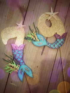 Under the sea birthday cake topper. Under the Sea Topper - Mermaid tail number cake topper. Mermaid Party Food, Mermaid Birthday Cakes, Mermaid Parties, Birthday Cake Toppers, Cake Birthday, Mermaid Tail Cake, Mermaid Cakes, Number Cake Toppers, Party Food Labels