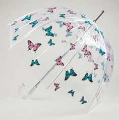 Butterfly Print Clear Bubble Umbrella