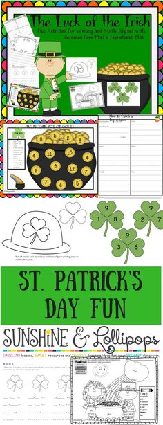 Are you looking for St. Patrick's Day writing, math and a craft? This is your lucky day...you do not have to look any further...this can be yours for just $2.25!!! You will be dancing the Irish Jig if you just stop by and check it out!!