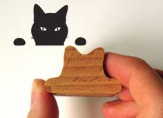 Gato Espiando, Gato Sello, Sello de Madera Tinta