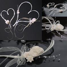 Svatební dekorace, dvě ratanová srdce 30 cm a 19 cm - krémová