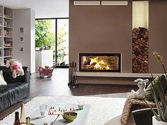 Trennwand Bei Offener Raumgestaltung-minimalistische Möbel-bio ... Kamin Als Trennwand