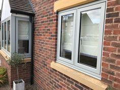 Grey Windows, Casement Windows, House Windows, Windows And Doors, Modern Front Door, Front Doors, Build My Own House, Window Company, Window Glazing