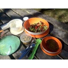 Our picnic lunch - lentil patties, salad and home made tzatziki dip - yummy!!