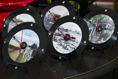 """Hand Made """"Snap Clocks"""" - vintage images on old 45 vinyl records crafted into clocks  ©2013 Deb Desmond Meserve"""