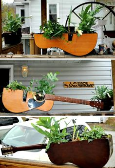 Upcycling ideas with musical instruments - a touch of romance for your beloved home Upcycling ideas deco ideas deco ideas living room ideas DIY ideas creative guitar flower pots Guitar Deco, Guitar Shelf, Old Musical Instruments, Guitar Crafts, Yard Art, Container Gardening, Gardening Vegetables, Repurposed, Diy Home Decor