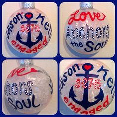 Engagement Christmas Ornament Hand Painted ~ Love Anchors the Soul Ornaments ~ Couple's First Christmas Gift ~ Glass Ball Christmas Ornament by WattsGoodArtistry on Etsy
