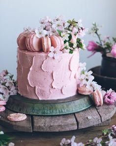 Neapolitan cake with macarons