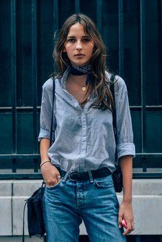Women, Waleska Gorczevski, Bandanas, Belts, Necklaces, Model Off Duty, Stripes, Blue, Jeans, Models, Bags, Paris