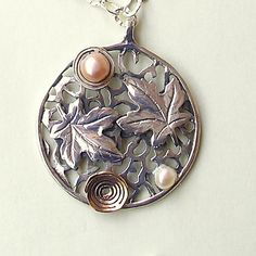 Loving couple 2 Plane tree leaves 2 spirals 2 by HedvaElanyJewelry, $169.00